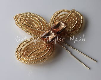 Wedding Hair Pin French Beaded Gold Seed Bead Topaz Crystal Decorative Bridal Accessory