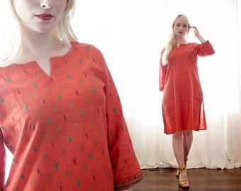 Vintage Burnt orange Indian woven cotton embroidered tunic dress kurta made in India boho hippie