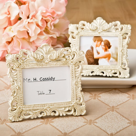 Place Card Holder Frames Set of 50 Small Ivory and Gold