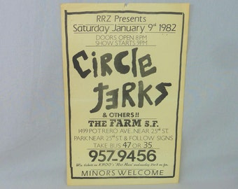 Circle Jerks original flyer - 1982 San Francisco - Vintage 1980s Flyer - band gig concert flyer - punk rock