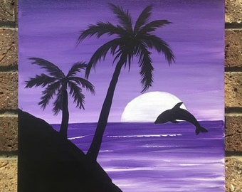 Purple Sunset Painting Class @ Neshannock Studio!  Ages 9 and up.  Saturday, April 21st 6-9:00