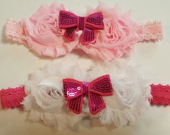 Stretch baby headbands with shabby rose and bow baby girl headband flower headband birthday gift