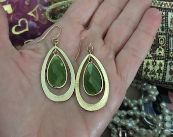 Lime Green Dangle Earrings, 1990s Gold and Green Earrings
