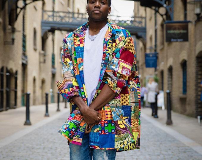 Featured listing image: African Shirt - Patchwork Shirt - Ankara Shirt - Mens African Fashion - Wax Print Shirt - African Clothing - Bright Shirt - Festival Shirt