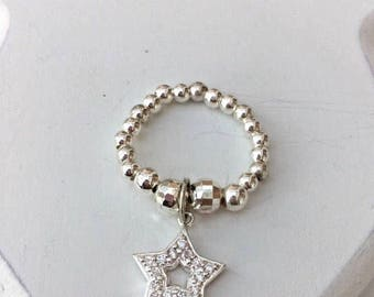 Sterling Silver CRYSTAL CZ STAR Ring