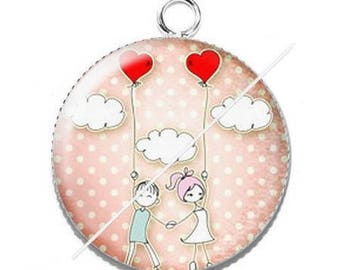 Pendant cabochon resin love couple Valentine's day 3