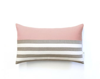 Patterned Stripe Lumbar Pillow Cover in Blush, Cream and Natural Breton Stripes by JillianReneDecor (12x20) - Spring Home Decor