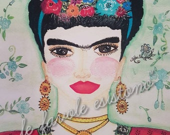 Frida Kahlo watercolor Frida Kahlo print Frida Kahlo poster Frida Kahlo print Vivalavida mexican artist illustration Frida Kahlo Wallart