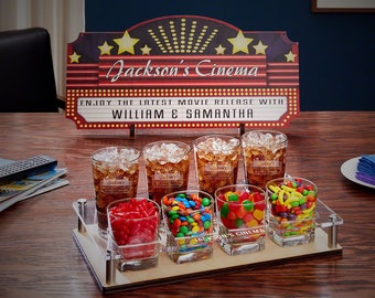 Home Theater Marquee Custom Movie Night Serving Set | Perfect Christmas or Birthday Gift for Couples, Families, and Move Lovers