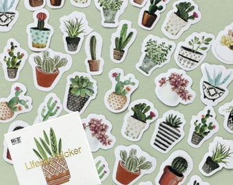44 stickers stickers theme plants and cactus