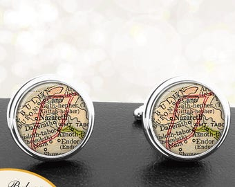 Antique Map Cufflinks Nazareth Israel City Country Cuff Links for Groomsmen Groom Fiance Anniversary Wedding Fathers Dads Men