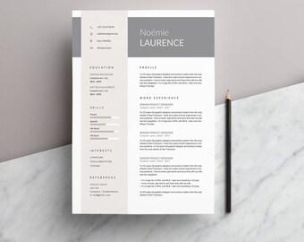 """Modèle de CV """"NOÉMIE"""" moderne & Lettre de motivation   4 Pages   Pour Ms Word   Guide d'utilisation Français + Anglais   Professionnel  """