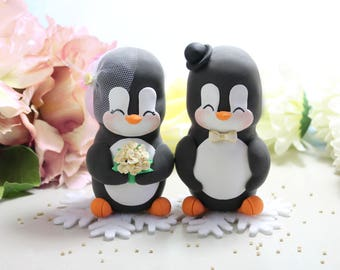 XL Extra LARGE wedding cake toppers/centerpieces Penguins bride groom figurines +felt snowflakes base - wedding decorations table cream gold