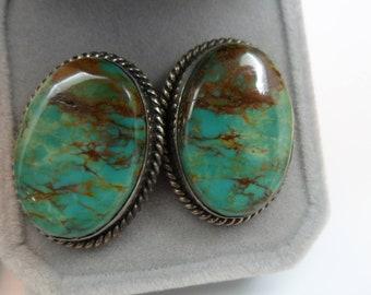 """Navajo GEM GRADE; Battle Mountain Blue Gem Mine Turquoise Earrings for Pierced Ears 1""""L X .75w; 16.2grtw"""