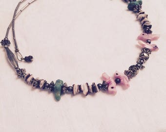 Silver and Little Bird Beaded Vintage Choker