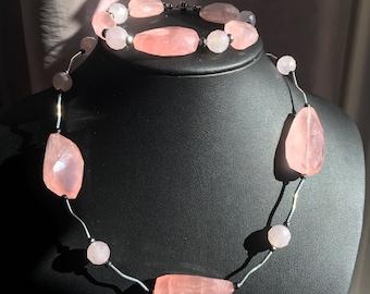 Rose quartz & hematite bracelet