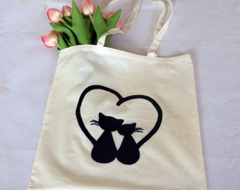 Mothers day from daughter, cotton tote bag, cat tote bag, black cat, tote bag cotton, bag cat, gift for mother, cat lover gift, cat art