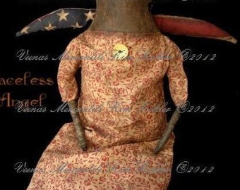 Primitive Doll Pattern Instant Download Angel PDF E Patterns Americana Faceless Ragg Raggedy Cloth Sewing Kim Kohler Veenas Mercantile