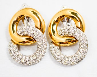 Vintage Haute Couture Givenchy Two Tone Figure 8 Infinity Pave Crystal Earrings.