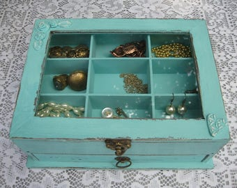 "Aqua Light  Blue ""Shabby Chic"" Wooden Jewelry Box"
