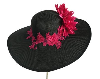 "Women's Kentucky Derby Hat, Wide Brim Hat, Garden and Tea Party Hat in Black and Fuchsia Pink - ""Laguna Beach Romance"""