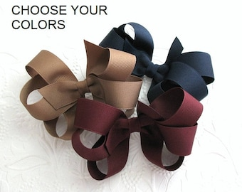 Back to School Bows, School Uniform Hair Bows, Pick Your Colors, Boutique Hair Bows for Girls, Large Hair Bows, Set of 3 Girls Hair Bows