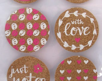 Cork round stickers - pink - white - notes - hearts - love - 9 stickers