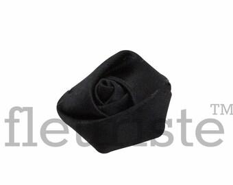 BLACK Rosette, Satin Rolled Rosette, Fabric rose, Rolled Rosette, Wholesale Flower, Fabric Flower, Wedding Flower, Flower Embellishment