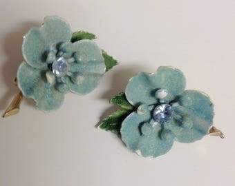 Vintage Flower Earrings | Rhinestone Flower Earrings | Blue Vintage Earrings | Blue Flower Earrings