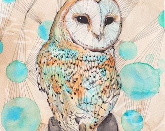 Owl Print *NEW, Realistic Owl Print, Owl Painting, Owl Print, Colorful Owl Statement Piece, Watercolor Owl Print, Watercolor Owl, barn owl