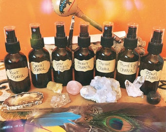 Crystal Infused Spray - Chakra Spray - Reiki Healing - Moon Water - Essential Oils - Smudge Spray - Meditation Gifts - Spiritual Gifts