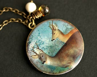 Deer Locket Necklace. Young Bucks Necklace. Deer Necklace with Glass Teardrop and White Pearl Charm. Picture Locket. Bronze Necklace.