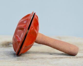 Tin Wood Halloween Noise Maker . Vintage .  Orange Tin . Wood Handle .  Collectible