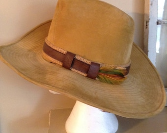 Vintage Cowboy Hat by Lanning Size M/L Brown Trim with Feather Fully Lined Light Brown Western Hat