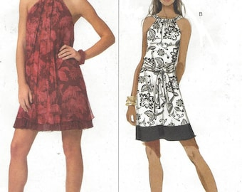 Muse Womens Pullover Sun Dress Halter Mini Dress for Summer OOP Butterick Sewing Pattern B5177 Size 6 8 10 12 Bust 30 1/2 to 34 UnCut