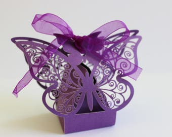Butterfly Wedding Favor Boxes Laser Cut 10, 20 or 50 DIY Purple Pearlescent  / Weddings / Showers / Anniversary / Parties