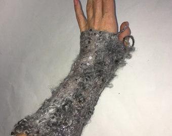 RESERVED Felted Mittens Handmade Fingerless Felt Arm Warmers OOAK Wool Silk Textured Felt Gift