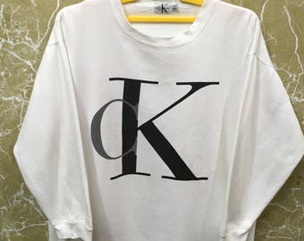 Vintage CK Calvin Klein jumper sweatshirt white colour big logo L size