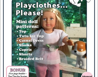 Pixie Faire Merry Manatees Playclothes, Please! Doll Clothes Pattern For 6 Inch Mini American Girl Dolls- PDF