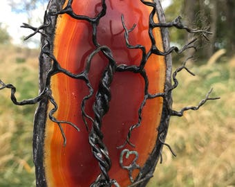 DEER HEART ~ Tree of Life Agate Sun Catcher