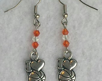I LOVE Basketball Lucky Earrings a real buzzer beater! March Madness - Mother's Day - Birthday - Team - Gift - Free Shipping (US)