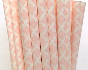 2.85 US Shipping -Vintage Pink Paper Straws- Pink Damask straws - Cake pop sticks