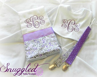 Monogrammed Baby Gift Set - Bib, Burp Cloth and Pacifier Clips