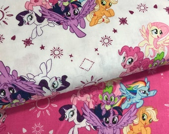 Bundle of 2 My Little Ponies Fabrics from the My Little Ponies Movie Collection by Camelot Fabrics, My Little Pony Bundle