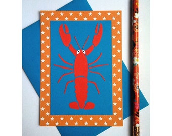 """Lobster"" card / paper cut and glued / handmade"