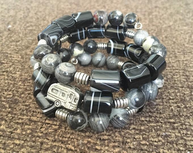 Featured listing image: Airstream Bracelet, Camper Charm, Airstream Charm, Black Sardonyx & Black Silver Leaf Jasper, Camper Bracelet, Gift for RVer, Wrap Bracelet