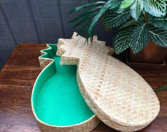 Vintage Woven Pineapple Box, Lined Gift Box, Phillipines Pineapple Box