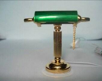 Dolls House Miniature Green Desk Light