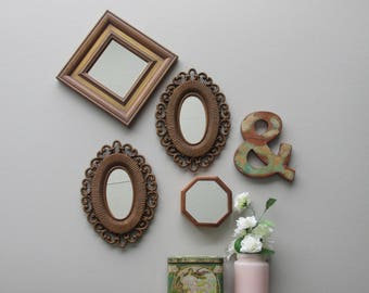 wall art collage - Mirror Collage - wall art gallery - 5 pieces -vintage mirror collection