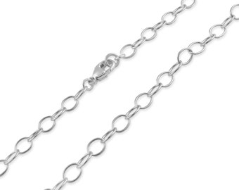 """Sterling Silver 5mm Cable Chain 12"""", 14"""", 16"""", 18"""", 20"""", 22"""", 24"""", 26"""", 28"""", 30"""""""